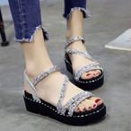【shoes】サンダル厚底スパンコールカジュアル歩きやすい全2色