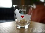 ミニニュアダックス/ワイヤーヘアード彫刻グラス(ハート&クローバー)