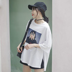 【tops】プリントスリットカジュアルゆったりTシャツ