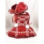 【犬服・ドッグウェア】Fancy House ボンネットキャップ付き 鮮やかレッドのプリンセスドレス