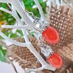 【ピアス】天然石ゆらゆらピアス-オレンジジェイド-(pierce-017)
