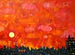 油彩画 | 夕焼けのまち