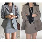 グレンチェックのジャケット&ミニスカート レトロクール80'sスタイル♪ グレー色のみ