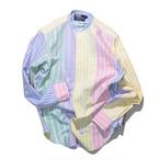 Used☆ POLO Ralph Lauren クレイジーストライプ バンドカラー シャツ