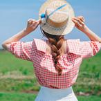 plaid wide collar blouse 2667