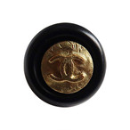 【VINTAGE CHANEL BUTTON】ブラックフレーム アンティークココマークボタン 1.2cm C-19144