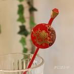 梅の平丸のかんざし 赤