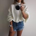 ケーブル編みvolume arm knit/white