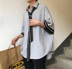 メンズ シャツ 韓国 半袖 シャツ ネクタイ 人気 肩落ち