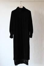 【eicayoshinari】tule velvet fringe dress-black
