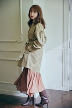 Belted Cotton-Twill Long Jacket