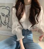 シャーリング ブラウス トップス ボリューム袖 フリル 透け感 フェミニン 上品 韓国 オルチャン