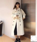 2018 冬 レディース 新作 コート ウール オフホワイト 白 カジュアル ボアコート オルチャン 韓国ファッション 401