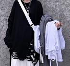 ダメージ ロングTシャツ レディース レイヤード 韓国 原宿 ストリート【tb-659】