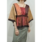 【RehersalL】 pajamas patch square neck blouse(sunset C) /【リハーズオール】パジャマ パッチスクエアネックブラウス(サンセットC)
