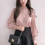 【tops】ファッションスタンドネックレースブラウス22828590