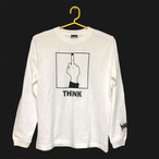 「THINK」 Long Sleeve Tee (White×Black)