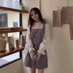 【送料無料】 ガーリーなレイヤード風♡ フリル ブラウス ドッキング チェック柄 ミニ丈 ジャンパースカート ワンピース