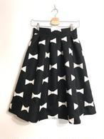 長め丈★しっかり生地のリボン柄スカート ブラック