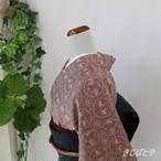 大島紬 柴色(ふしいろ)に丸紋 袷