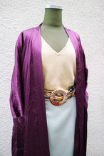 Purple satin gown