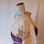 正絹綸子 桜色に季節の花々の小紋 袷