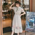 【送料無料】ガーリーコーデ♡ パステルカラー シースルー リボンタイ チェック柄 ワンピース