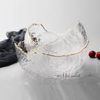 【M&Lサイズ2枚SET】海外デザイン!! 高級感漂うゴールドライン クリアガラスボール 食器 ディナー ランチ ボウル 洋食器