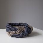 Merino Wool 'Barrington' Blue リバーシブルヘッドスカーフ/ミニスカーフ