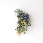 紫陽花とミモザとミツマタの小さなスワッグ 【bdfa20035】ドライフラワー