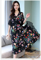 花柄フレアワンピース ふんわり 体型カバー 大き目 おおきい 大きい サイズ マタニティーウェア 可愛い ぽっちゃり 着痩せ 花柄 韓国 韓国風 ANLO436