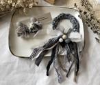 【オンライン限定セット販売】裂き布のシュシュvintage  & 耳飾りkushu イヤリング(パーツ変更不可) black&gray