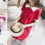 【dress】デートワンピースラウンドカラー配色半袖エレガント