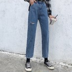 デニムパンツ ストレート デニム ダメージ 韓国ファッション オルチャンファッション