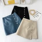 【お取り寄せ商品】サイドボタンレザースカート 1313