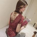 【tops】セクシー綺麗な背中レース透かし彫りTシャツ 22493286