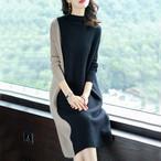 【dress】ニットワンピースゆったりは配色カジュアルワンピース