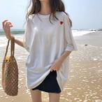 ハート刺繍 半袖 ゆる トップス Tシャツ【14986】