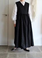 【受注9月3日~発送】ノースリーブカシュクール ブロードにシャボンの刺繍ブラック