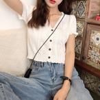 【tops】透かし彫り2色スタイリッシュショート丈vネックTシャツ 22316023