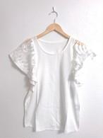 シースルーフリル袖の涼し気トップス ホワイト