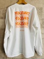 バックプリント・ロゴ・ロンT(白×オレンジ)