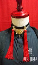 レザーチョーカー瓔珞飾りー赤ー