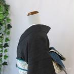 塩沢紬 黒地に麻の葉の小紋 単衣