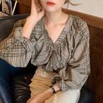 チェック柄 ブラウス Vネック ボリューム袖 レディース ファッション 韓国 オルチャン