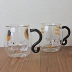 【とら猫くん・みけ猫くん】耐熱2重マグカップ【三毛猫 トラ猫 猫柄 マグカップ】
