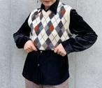 (PAL) argyle plaid knit vest
