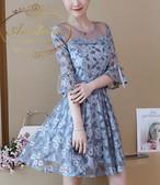ドレス レース ワンピース ミモレ丈 7分袖 パーティー 二次会 謝恩会 披露宴 結婚式 お呼ばれ ドレス リボン付き 花柄 可愛い