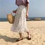 【送料無料】 大人可愛い花柄♡ ハイウエスト ロング丈 シフォン プリーツスカート
