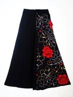 牡丹×黒ちりめんフレアーパンツ